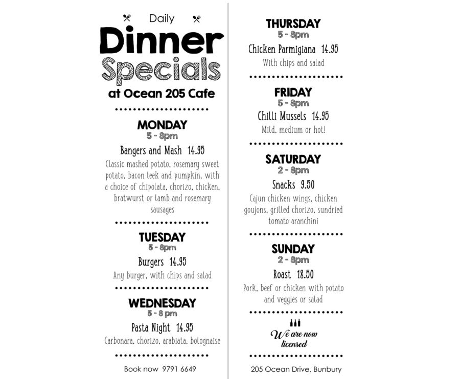 NEW – Check out our Daily Dinner Specials!
